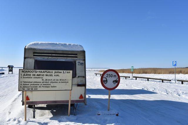 Jäätee algus. Foto: Maanteeamet